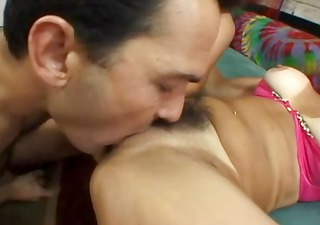 Hairy bushed MILF gets licked and then fucked