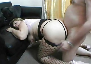 UK MILF fatty nailed by big boner on the floor
